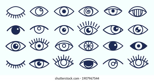 Eye icons. Outline eyelashes and eyes symbols. Ophtalmology signs. Sight, closed and opened organ of vision collection