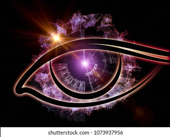 Eye of Knowledge series. Composition of eye icon and numbers suitable as a backdrop for the projects on  science, education and modern technology