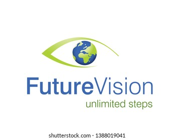 Eye logo with globe inside it. good concept for future vision