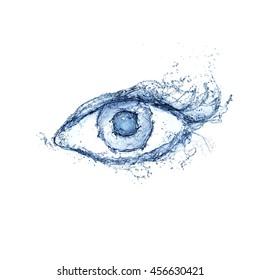 Eye made of water splashes