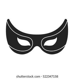 Eye mask icon in black style isolated on white background. Superhero's mask symbol stock bitmap illustration.