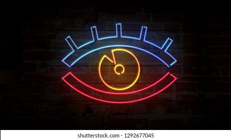 Eye neon modern symbol on brick wall. Flicker watching sign on brick wall background. Spying icon retro style glowing 3D illustration.