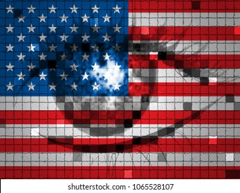 Eye On American Flag Showing Hacking 3d Illustration. Cyber Crime  Criminal Campaign by Russian Government To Hack Elections In The USA Using Illegal Online Spying.
