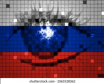 Eye On Russian Flag Showing Hacking 3d Illustration. American Democratic Political Campaign Hacked By Online Cyber Criminals.