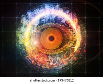 Eye Particle series. Abstract design made of eye shape and fractal elements on the subject of spirituality, art and  technology