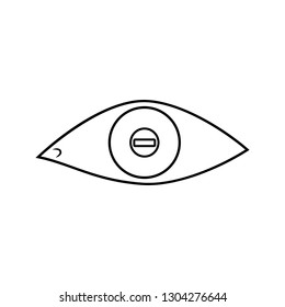 eye with short-sightedness problems icon. Element of cyber security for mobile concept and web apps icon. Thin line icon for website design and development, app development