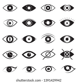 Eye Signs Black Thin Line Icon Set Different Types Include of Vision Elements. illustration of Icons