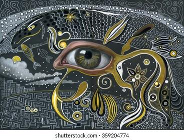 Eye in the sky. Hand drawn illustration. Raster zentangle.