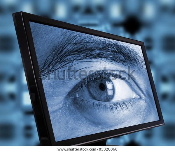 Eye spying trough a computer monitor