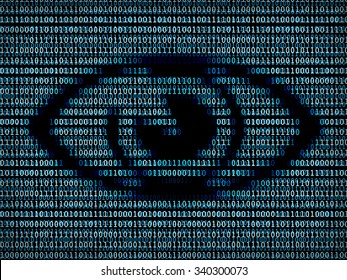 Eye symbol in digital background / A concept of virtual reality or internet surveillance