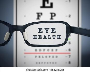 Eye test chart and eyeglasses. 3D illustration.