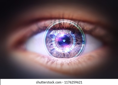 Eye viewing digital information represented by circles and signs, background depth of field. Technology concept. 3D Rendering/Security access technology