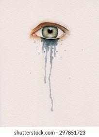 Eye watercolor crying