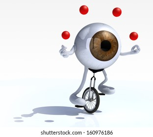 eyeball with arms and legs rides a unicycle with ease, 3d illustration