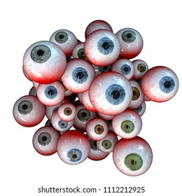 Eyeball Cluster, Creepy cluster of bloody halloween eyeballs, 3D Rendering