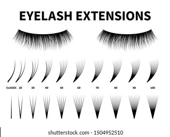 Eyelash extensions. Curling extension volume eyelashes, tweezer tool guide fake lash. Artificial lashes template makeup, makeup accessories design