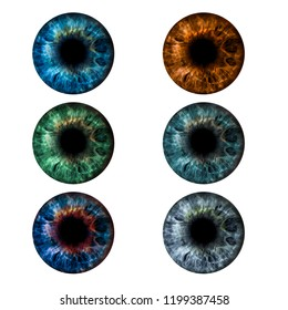 Eyes iris collage. Beautiful female eyes of different colors.