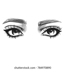 Eyes isolated sketch. Hand drawn fashion illustration. Black and white pencil art.