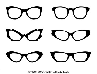 Eyglasses. Black silhouettes of eyeglass frames in the style of the 1960s. Front view. Raster