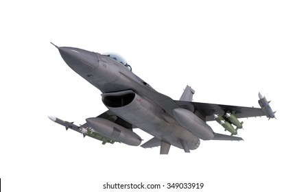 F -16 , american military fighter plane.Jet plane. Fly in clouds.