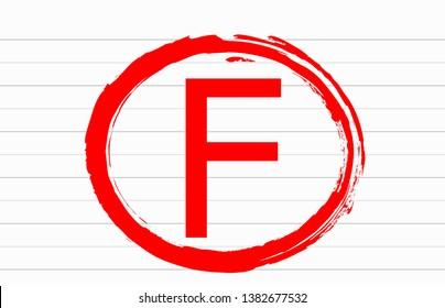 F examination result grade red latter mark on white paper