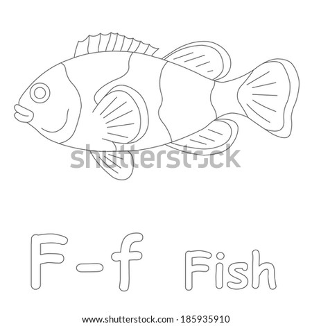 F Fish Coloring Page Stock Illustration 185935910 Shutterstock - F-is-for-fish-coloring-page