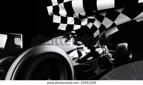 F1 car approaching checkered flag