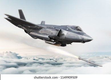 F-35 advanced military aircraft locking on target and firing Missile . 3d rendering