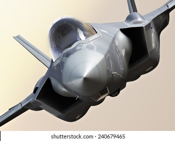 F35 Fighter jet close up.