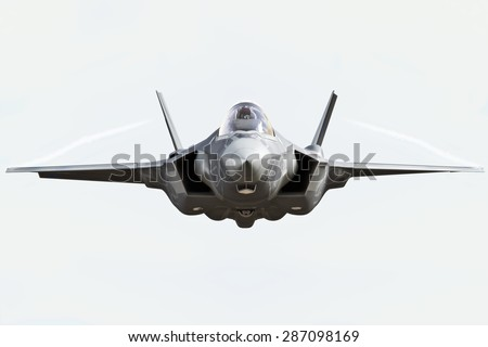 F 35 Front View Close Flying Camera Stock Illustration