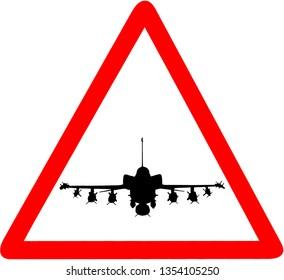 f35 millitary aircraft circular road sign icon warning.