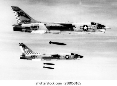 F-8 aircraft release bombs on North Vietnamese troop concentrations in South Vietnam June 29 1972
