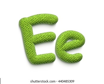 Fabric alphabet letter E in 3d rendered on white background.