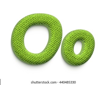 Fabric alphabet letter O in 3d rendered on white background.