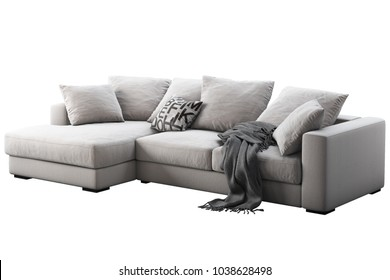 Fabric corner sofa with pillows and plaid. Cozy sofa on white background. Modern style. Realistic 3d render. Interior visualisation