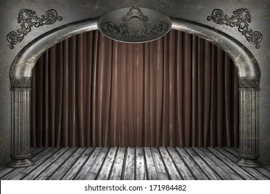 fabric curtain on old stage