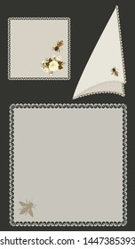 Fabric napkins with applique and lace trim - isolated on a dark background  Home textiles