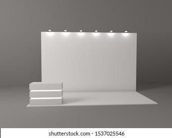 Fabric Pop Up basic unit Advertising banner media display backdrop. Blank white 3d render illustration