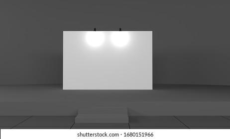 Fabric Pop Up basic unit Advertising banner media display backdrop. Blank white 3d render illustration mockup