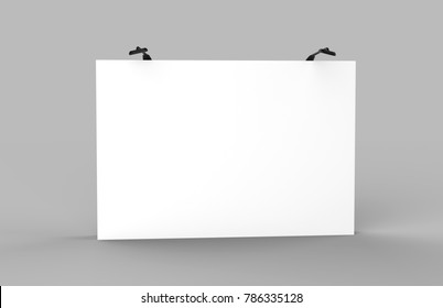 Fabric Pop Up basic unit Advertising banner media display backdrop. Blank white 3d render illustration