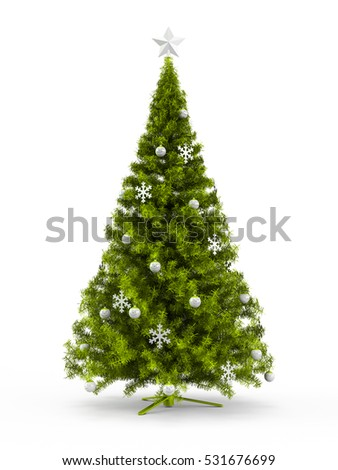 fabulous christmas tree with lime green ornaments on it isolated on white background 3d rendering - Lime Green Christmas Tree