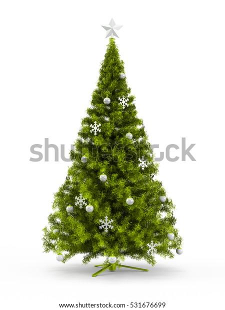 Fabulous Christmas Tree Lime Green Ornaments Stock Illustration
