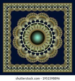 Fabulous fractal geometric mandala ornament.