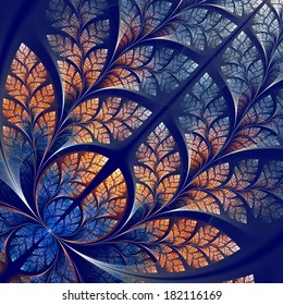 Fabulous fractal pattern in blue and beige. Collection - tree foliage. Computer generated graphics.