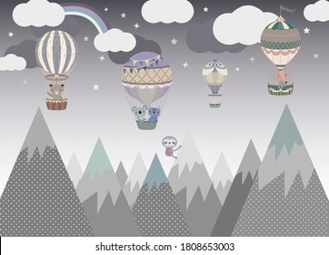 The fabulous landscape of mountains and balloons