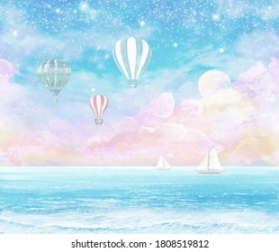 the fabulous landscape, the sea and the airy balls