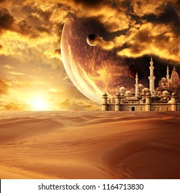 A fabulous lost city in the desert. On beautiful sunset sky background with planets. Element of this image furnished by NASA