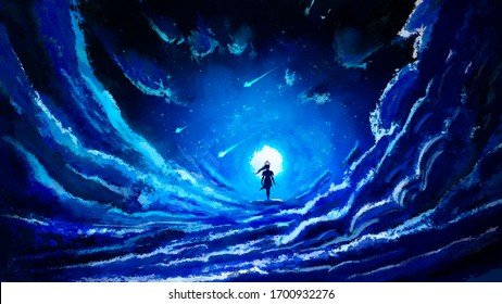 A fabulous night sky with many clouds, stars, comets and a full moon, in the middle of the figure you can see the black silhouette of a girl walking right across the sky. 2d illustration.
