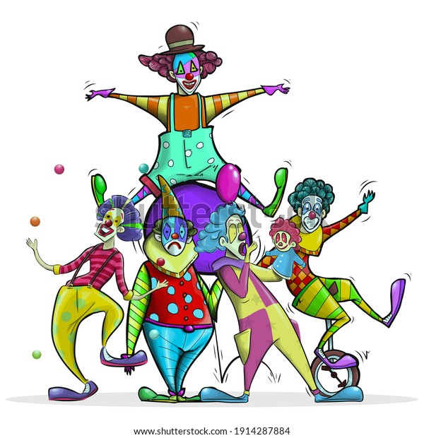 Fabulous people and clown illustration.