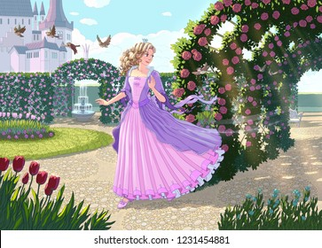A fabulous scenery where the beautiful princess with curly hair in a lilac dress is walking by the Catle in the morining. While birds are flying aroung, she is passing throung the sunny rose archway